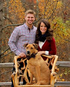 Fall family photo idea with the dog wearing an adorable bow tie! Coordinating navy and burgundy / wine outfits. Couples poses with dog