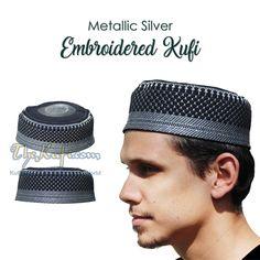 Black with Metallic Silver Embroidery Kufi Hats  muslimhats  kufi  thekufi   prayercap   760cb1af7a5