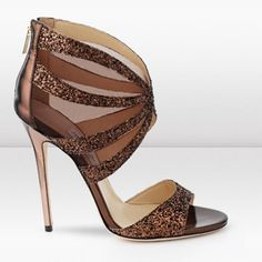 Jimmy Choo 'Leila' Bronze Glitter High Heel Stiletto  Sandals