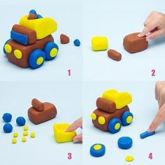 Play Dough Activities playdough activities for babies Play Dough Activities playdough activities for kindergarten Clay Crafts For Kids, Kids Clay, Car Cake Tutorial, Fondant Tutorial, Playdough Activities, Plasticine, Cool Birthday Cakes, Cakes For Boys, Cake Toppers