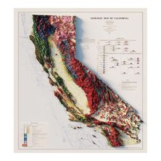 Us Map, Geology, True Colors, Fine Art Paper, Poster Prints, How To Apply, California, Frame, Maps