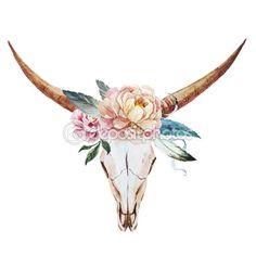 Bull skull watercolor — Stock Illustration #72490827