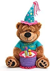 """Adorable Happy Birthday Teddy Bear With Cake That Plays """"Happy Birthday To You"""" - Colorful happy birthday bear. Cake plays """"Happy Birthday to You! All dressed up in his birthday finery with Happy Birthday printed on shirt. Birthday Deals, Birthday Freebies, Birthday Songs, Singing Happy Birthday, Birthday For Him, Happy Birthday Messages, Birthday Greetings, Birthday Gifts, Surprise Birthday"""