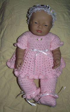 Baby Girl Crochet Set  Headband Top Pants  by TJsCrochetCreations