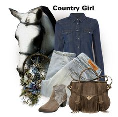 """Country Girl"" by jessicarabbit59 ❤ liked on Polyvore featuring Lee, Denham, Ella Rabener and country"