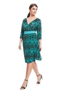 Plus Size IGIGI Dominique Dress In Green Paisley