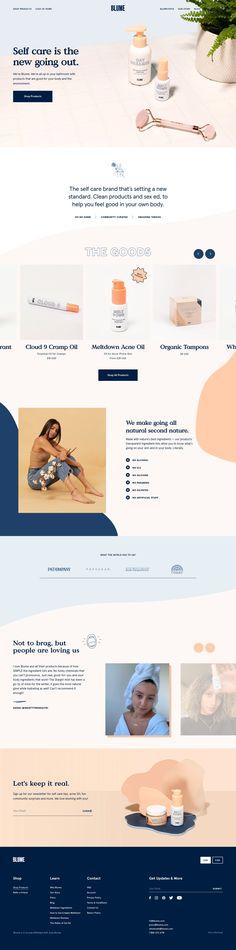 Blume landing page design inspiration - Lapa Ninja Layout Design, Website Design Layout, Logo Design, Typography Design, Design Ios, Web Layout, Graphic Design, Flat Design, Website Design Inspiration