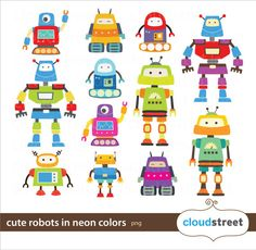 buy 2 get 1 free Cute Robots Clipart in neon for personal and commercial use ( cute neon robot clip art ) INSTANT DOWNLOAD