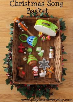 A fun song basket to encourage kids to join in with singing Christmas songs.