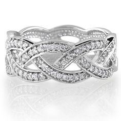 Sterling Silver Cubic Zirconia CZ Accent Woven Design Band Ring - Women's Engagement Wedding Band Ring-Mother's Day Gift J...