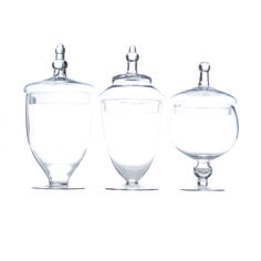 """Glass Apothecary Jars (Set of 3) $39.98 Koyal Wholesale  Dimensions (including the lid): Large 14"""" tall with 6"""" openingdiameter Medium 13.75"""" tall with 5.6"""" openingdiameter Small 12"""" tall with 5.3"""" openingdiameter"""