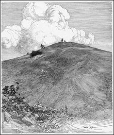 """Franklin Booth """"Ideal Golf Links - Hilltop"""" (modified) 1909 (H. Illustrations And Posters, Ink Art, Ink Pen Drawings, Illustration Art, Cool Art, Cloud Drawing, Woodcut, Scenery, Ink Illustrations"""