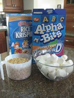 Back to School Party and Alphabet Rice Krispy Treats