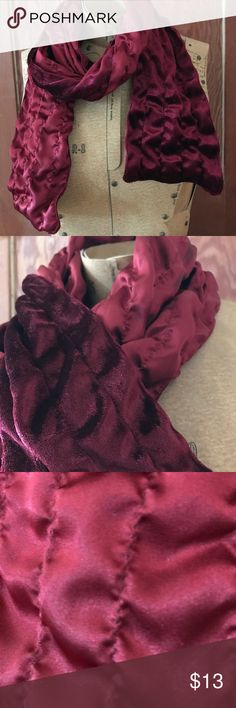 """Velveteen & Satiny Burgandy Crinkly Scarf Polyester Velveteen & Satiny Burgandy Crinkly Scarf. Approx 82"""" long. Almost new condition.  Please note that red colors are the most likely of colors to vary when photographing or displaying online. I do take some steps to get as close as possible to true colors, but there may still be variance. Accessories Scarves & Wraps"""