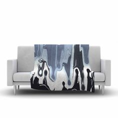 "Nina May ""Gray Drip"" Black White Fleece Throw Blanket"