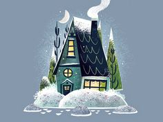 I've been playing around with the idea of utilizing more of a subtle watercolor look to my art so I set out to do a small series of cottages/buildings with a wonky and exaggerated style. I eventually plan on adding more to this series. Winter Illustration, House Illustration, Illustrations, Illustration Artists, Winter Kids, Winter Art, Cozy Winter, Gouache, House Drawing