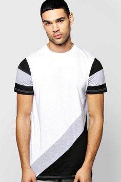 #FashionVault #boohoo #Men #Tops - Check this : boohoo Diagonal Pieced T Shirt - white for $ USD