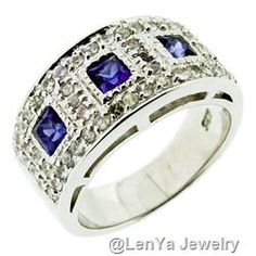 """925 Sterling Silver Ring with Blue and White Sapphire (Ring Size 7"""")"""