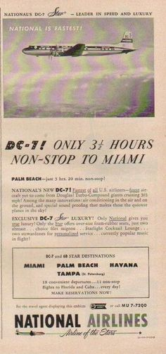 1954 National Airlines DC-7 Star Plane Photo Palm Beach~Miami~Havana~Tampa Ad