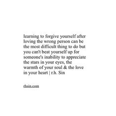 learning to forgive yourself...