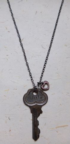 Upcycled Recycled Repurposed old key and enameled heart by OakbyLF, $35.00