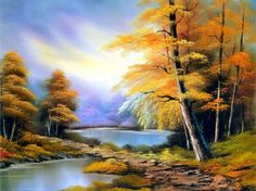 Bob Ross Paintings are easy to complete and can be done quickly because Bob teaches using the wet-on-wet oil painting method that gives quick gratification. Hofcraft has all Bob Ross Materials at Great Discounts. Bob Ross Artworks, Bob Ross Paintings, Happy Paintings, Beautiful Paintings, Watercolor Landscape, Landscape Art, Landscape Paintings, The Joy Of Painting, Autumn Painting