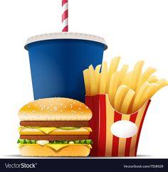 Fast food still life with a hamburger fries and vector image on VectorStock Be Still, Still Life, Hamburger And Fries, Photo Lamp, Food Clips, Food Sketch, Food Wallpaper, Cute Emoji, Gumball Machine