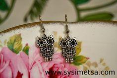Owl Earrings - Antique Silver Owl Charm Earrings