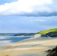 Passing Clouds fine art print by Heather Howe | Select Art #landscape #seascape #beach #coast #tranquil #painting #cornwall #blues #greens #sky #clouds #sand
