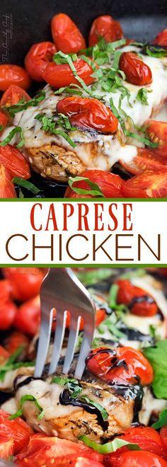 caprese chicken, marinated in a garlic balsamic marinade, is baked ...