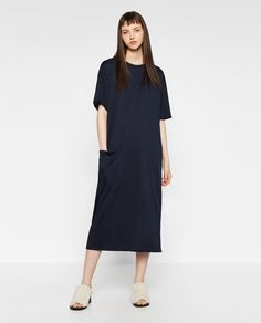 OVERSIZED DRESS WITH POCKETS from Zara - COLOR: Blue Dress falling to the ankle. Round neck. Short sleeves. Front pocket detail. Flowing fabric. OUTER SHELL  65% modal, 35% polyester