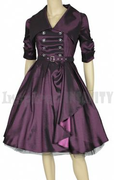 Psychobilly Mad Men Purple Trench Swing Dress priced at $59.95. I love the way this dress looks like a trench coat with the buttons and the little belt. What also makes it so beautiful is the wide collar and the split where you can see the reverse side of the fabric... and it's purple... color of royalty!