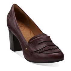 Town Green in Burgundy Leather - Womens Shoes from Clarks