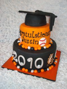 High School Graduation Cake - This cake was for a boy graduating from high school. He played baseball so they wanted to incorporate that into the cake. It's a 12 inch and 8 inch round cake covered in fondant with fondant and gumpast accents. Graduation hat is rice cereal treats. Thanks for looking!