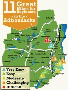 Looking for some easy hikes in the Adirondacks? Plan a fun trip to one of these 11 great Adirondack hikes that are perfect for beginners! Hiking Tips, Camping And Hiking, Hiking Usa, Backpacking Trails, Hiking Routes, Camping Cabins, Camping Guide, Camping Gear, New York Travel