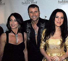 (Left to right) Olympic gold medalist Nadia Comaneci, designer Catalin Botezatu opera star   Angela Gheorghiu at the red carpet of Couture Fashion Week New York http://www.couturefashionweek.com
