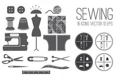 Set icons Sewing by UVAconcept on Creative Market