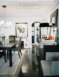 I LOVE those gloss black floors!
