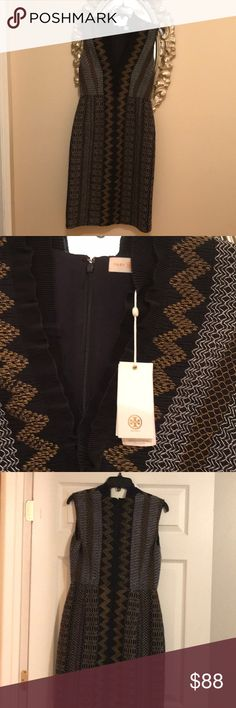 Tory Burch embroidered Dress Navy Blue with gold and white embellishment- v- neck with ruched embellishment Tory Burch Dresses