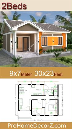 Modern Bungalow House Plans, Bungalow Haus Design, Small House Floor Plans, My House Plans, House Layout Plans, Small Bungalow, Family House Plans, Small Cottage Homes, Small Tiny House