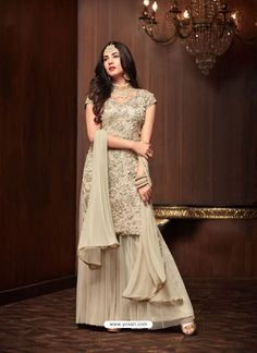 Cream Net Designer Emroidered Anarkali Suit