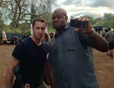Alex O'Loughlin and Chi McBride being goofy on the set of Hawaii Five-0