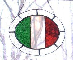 Stained Glass Italian Flag SuncatcherSALE by smashingglass on Etsy, $25.00