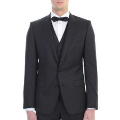 Dolce&Gabbana. Black wool and silk Martini suit. Made In Italy.