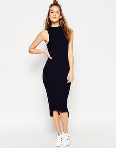 Image 1 ofASOS Sleeveless Dress In Plated Rib Knit And Side Split