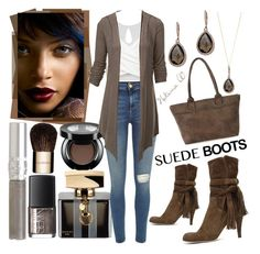 """""""Style Staple: Suede Boots"""" by sexyshonda ❤ liked on Polyvore featuring Effy Jewelry, Gucci, River Island, Doublju, Chloé, NARS Cosmetics, Clarins, T. LeClerc and Karen Kane"""