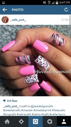21 Fresh Acrylic Nails for Beginners - Acrylic Nail Designs Cheetah Nail Designs Animal Nail Designs Acrylic Nails Nail Cheetah Nail Designs, Animal Nail Designs, Toe Nail Designs, Acrylic Nail Designs, Animal Nail Art, Fingernail Designs, Fancy Nails, Pink Nails, Pretty Nails