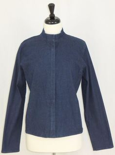 Eileen Fisher Stretch Jean Jacket Zip Front Tapered Sleeves Blue M #EileenFisher #JeanJacket #Casual
