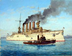 S.M.S. Scharnhorst by Paul Wright. A German armored cruiser,  built in 1907, 11,600 tons. Scharnhorst ship was the crack gunnery ship  of the German fleet before WWI and  the Flagship of the German East Asia Squadron based in Tsingtao under Admiral Graf von Spee. The Squadron were ordered to return to Germany via S. America  Intercepted by the British at Coronel, the squadron beat the British forces, only to be totally destroyed itself shortly after at the Battle of the Falklands.