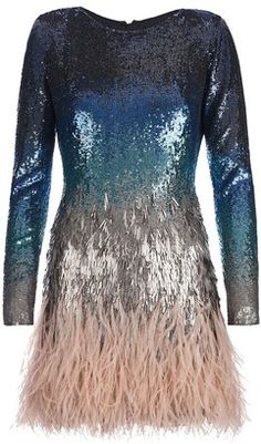 Matthew Williamson Sequin embellished and feather dress